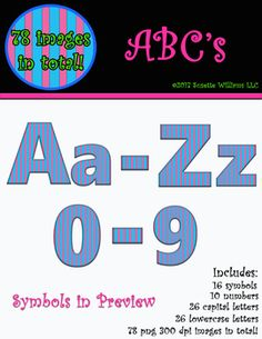 ABCs, upper and lowercase, 16 symbols, 10 numbers (78 images in total) for only a dollar! Have fun decorating your classroom or jazzing up your TpT products! This set includes 26 capital letters png and 26 lowercase png letters, 16 symbols (shown in preview), 10 numbers (0-9).