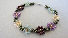 Beaded Daisy Bracelet by PGCreations on Etsy, $16.00