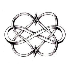 Double Heart Infinity Black Symbol