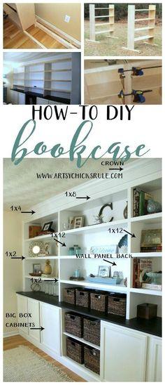 DIY Bookcase Tutorial - FULL TUTORIAL - http://artsychicksrule.com