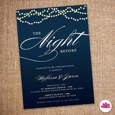 Starry Night Rehearsal Dinner Invitation 5 X 7 by EventswithGrace