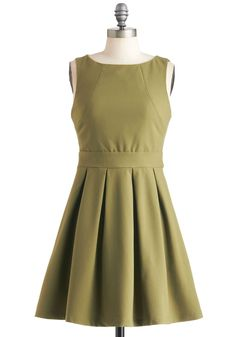 Seams Like Only Yesterday Dress - Green, Solid, Pleats, Minimal, A-line, Sleeveless, Mid-length, Exposed zipper, Party, Pockets, Fit & Flare