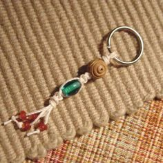 macrame hemp keyring with  beads by MyKnottyShop on Etsy, $5.99