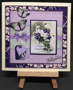 Cardtopper vintage white and purple flower 437 on Craftsuprint designed by Gertraud Lueckel - made by Bettina Jensen - I have printed motif on good quality photo paper, cut all the parts, rounded edges on all 3D parts and assembled with sticky padsI have decorated with glitter glue - Now available for download!