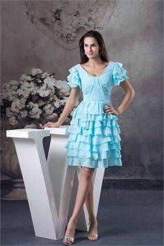 light Blue Knee-Length Chiffon Ruffles V-neck Bridesmaid Dress