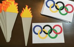 Olympic themed door decs, torches and the Olympic Rings :)