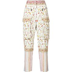 Nº21 floral cargo trousers ($845) ❤ liked on Polyvore featuring pants, white, cargo pants, flower print pants, floral trousers, white cargo pants and floral printed pants