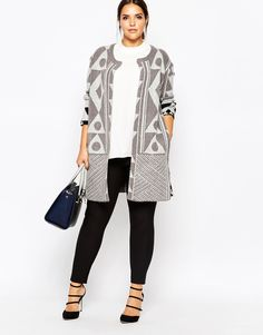 Plus Size Abstract Patterned Cardigan