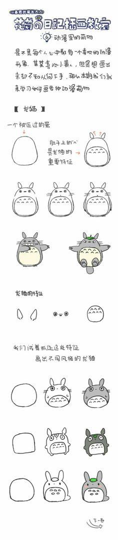 How to Draw Totoro, My Neighbor Totoro, Studio Ghibli; How to Draw Manga/Anime