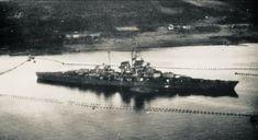 Tirpitz in her final days at Håkøya. Uss Arizona, Heavy Cruiser, Navy Ships, Military Equipment, Lofoten, Model Ships, Battleship, Warfare, World War Ii
