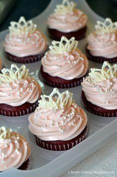 tiaras on red velvet cupcakes
