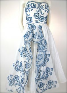 ~The Grand Suite - Dreamy White & Blue Vintage 1950's I. Magnin Bridal Wedding Party Dress~