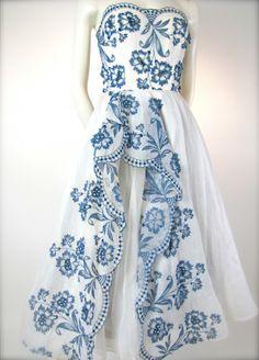 ~The Grand Suite - Dreamy White & Blue Vintage 1950's I. Magnin Bridal Wedding Party Dress~