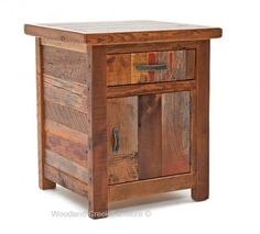 Barn wood furniture made for you. The Barnwood Furniture Collection is made from salvaged wood taken from Barns across the USA. Barn Wood Crafts, Old Barn Wood, Reclaimed Wood Projects, Reclaimed Barn Wood, Rustic Barn, Rustic End Tables, Diy End Tables, Bedside Tables, Rustic Nightstand
