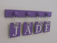 JADE  Purple Personalized Children Decor Wooden by NelsonsGifts
