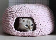 Cama Caverna Feita de Crochê Para Gatos   Idéias de Como Fazer