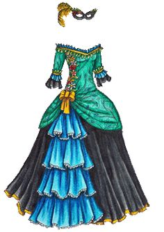 Colored Masquerade Dress in Cool Colors