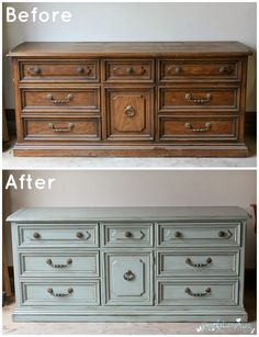 Before and After: General Finishes Persian Blue Dresser!