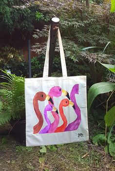 Pink and crimson shades of flamingos on a tote bag. Just perfect to add  colour 5f0eaab98e3e2