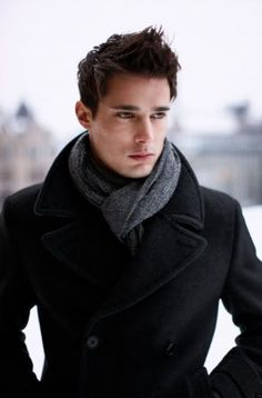 Appropriate use of a scarf with a pea coat.