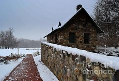 winter, snow, stone home, park, picnic tables, blue sky, Fishers, Indiana, Amy Lucid Photography