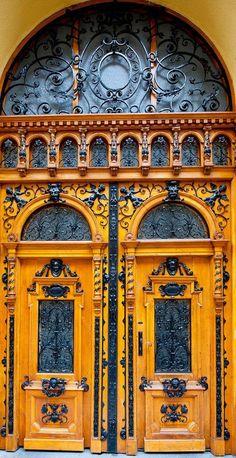 "the-rouge-rose2u: "" Beautiful ornate Eastern European double doors in Budapest, Hungary """
