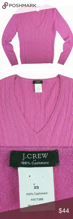 "JCREW Pink 100% Cashmere Cableknit V-Neck Sweater Great condition! This pink cashmere sweater from JCREW features a cable knit and v-neckline. Made of 100% cashmere. Measures: bust: 34"", total length: 23"", sleeves: 25"" J. Crew Sweaters V-Necks"