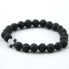 HuntGold 1 PC Men's Hematite Cross-Shaped Lava Stone Beads Stretchable Charming Bracelet -- Awesome products selected by Anna Churchill