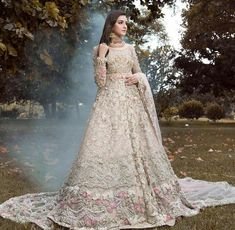 Sania Maskatiya Wedding & Bridal Dresses for Mehndi Barat and Walima Pearl Carnation, revels in a soft feminine look with delicate swarovski crystals, pearls and lighter hues of blush pink for a bewitching and luminous aura that every brides dreams about. Asian Bridal Dresses, Asian Wedding Dress, Pakistani Wedding Outfits, Indian Bridal Outfits, Indian Bridal Lehenga, Pakistani Bridal Dresses, Pakistani Wedding Dresses, Indian Dresses, Walima Dress