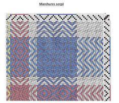 Cercle de Fermières St-Lambert-de-Lauzon: tissage :patron linge à vaisselle technique sergé Weaving Designs, Weaving Projects, Weaving Patterns, Crochet Patterns, Loom Weaving, Hand Weaving, Towel Embroidery, Sampler Quilts, Textiles