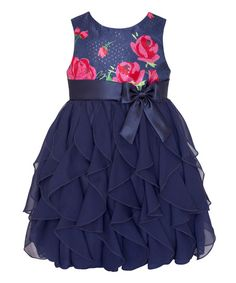 American Princess Navy & Pink Rose Ruffle Tier Dress - Infant, Toddler & Girls | zulily