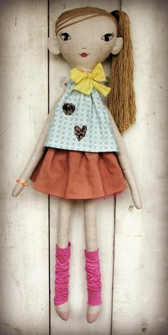 Handmade linen doll with embroided face. by LolawithLoveDolls