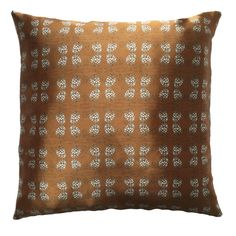 """Handmade RADOST Throw Pillow $54 * PINE CONE (GOLD) * Removable insert; washable cover * Material: Minky (100% polyester) * Dimensions: 16"""" high x 16"""" wide * Pillow cover care instructions: Machine wash cold and line dry; do not bleach."""