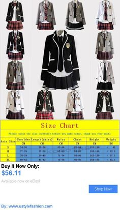 Girls Uniforms: New Womens Girls Slim Fit Dress School Uniform Japanese Coat Skirt Suits Cosplay BUY IT NOW ONLY: $56.11 #ustylefashionGirlsUniforms OR #ustylefashion
