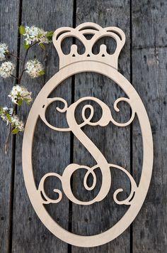 Oval Crown Border Single Vine Script Monogram Letters- Princess Crown - Prince Crown- Nursery Decor - Wall Letters - Wood Letters