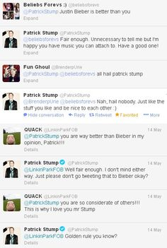 Patrick Stump is the most polite and sweet rock star ever.Well Pete is too,but you know what I mean.
