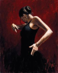Fabian Perez El Baile del Flamenco en Rojo I painting is shipped worldwide,including stretched canvas and framed art.This Fabian Perez El Baile del Flamenco en Rojo I painting is available at custom size. Fabian Perez, Belly Dancing Classes, Spanish Dancer, Dance Paintings, Oil Paintings, Kiss Painting, Indian Paintings, Salsa Dancing, Latin Dance