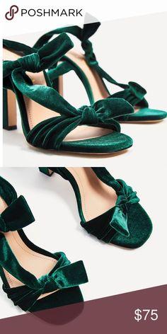 Velvet lace up heels Zara Zara Shoes Heels