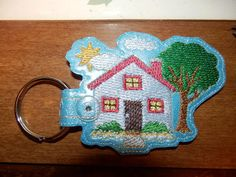 House and Home Key Fob  Machine Embroidery Pattern by WhimsyDolls