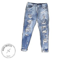 Good objects - Essentials :Ripped jeans #denim #goodobjects #illustration #affiliate