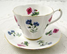 Royal Albert Tea Cup and Saucer, Pink and Blue Flowers, Wayside Series, Vintage Bone China
