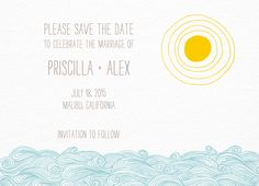 Seagulls Save The Date card by Hello!Lucky on Postable.com