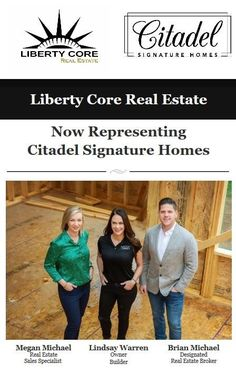 We are proud to announce that Liberty Core Real Estate is now representing Citadel Signature Homes for their real estate marketing needs. Citadel's high quality of craftsmanship and personalized customer service aligns with what our clients have come to expect of us. Owner-Builder Lindsay Warren and her team have a combined 50+ years of experience building the Omaha Metro area. Citadel's one-of-a-kind custom builds will exceed your client's expectations! Brian Michael, Liberty, Signature, Custom Built Homes, Exceed, Real Estate Marketing, Customer Service, Core, Building