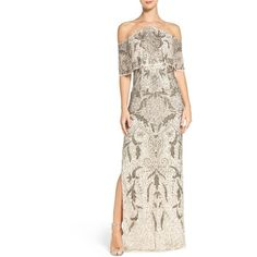 Women's Aidan Mattox Embellished Mesh Gown ($475) ❤ liked on Polyvore featuring dresses, gowns, champagne, aidan mattox evening gowns, aidan mattox, champagne dress, mesh gown and off white dresses
