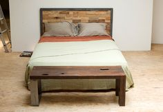 great basic quilting + Reclaimed Wood and Iron Steel Headboard via Etsy