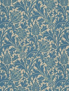 Thistle+(DMOWTH102),+a+feature+wallpaper+from+Morris+and+Co,+featured+in+the+Morris+V+collection.