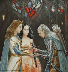 Queen Melian observes the spirit of the Black Blade as king Thingol hands the unfortunate gift to Beleg.
