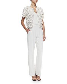 Brunello Cucinelli Short-Sleeve Silk Fringe Jacket & Sleeveless Crepe V-Neck Jumpsuit