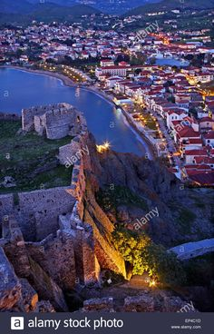 Partial view of the town of Myrina (Romeikos Gialos ) and its castle, Lemnos (Limnos) island, North Aegean, Greece.  #Greece #Greek #island #Lemnos #Limnos #Mediterranean #north #northern #Aegean #sea #islands #Myrina #town #towns #castle #castles #Romeikos #gialos #beach #traditional #architecture #architectural #urban #landscape #landscapes #cityscapes #atmosphere #atmospheric #travel #destinations #sights #sightseeing #attractions #night #nights #nightshot #nightshots #evening #blue #hour