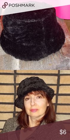 Womens Vintage Faux Fur Black Hat This vintage women's faux fur hat has a straight top and  brim at the bottom. It's unique and probably one of a kind. Accessories Hats